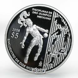 Mexico 5 Pesos Juego de pelota Olympics proof silver coin 2008
