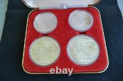 Montreal Olympics 1976 Water Sports 4 Coin Silver 92.5 Uncirculated In Case