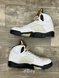 Nike Air Jordan 5 V Retro Olympic White Gold Medal Black OG Size 12 136027-133