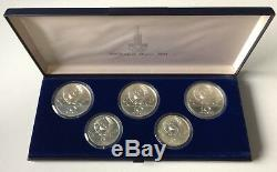 ORIGINAL XXII OLYMPICS MOSCOW 1980 Silver Russia Coins Collection Box Set RARE