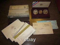 Olympic 3 Coin Proof Set 1984 W $10 Gold 1983 S & 1984 S Silver Dollars