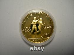 Proof 1983 & 1984 Olympic 3 Coin Set $10 GOLD 2 Silver Dollars Bullion with box