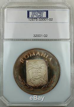 Rare 1996 Romania 100 Lei, Only 125 Minted. 999 Silver Olympic Proof Coin TONED