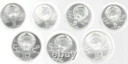 Russia 1980 Olympic (4) 5 Roubles & (3) 10 Roubles 7 Silver Coins Original Case