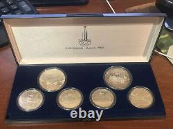 Russia USSR 1980 Moscow Olympic Games 5 & 10 Roubles 6 coin Silver Set