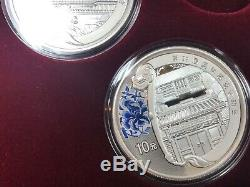 SET of 4 2008 China Beijing Olympic SILVER COINS in ORIGINAL BOX