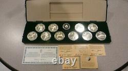 Set Of 10 1988 $20 Olympic Canada Proof Coins With 1 Troy Ounce Silver Each /coa