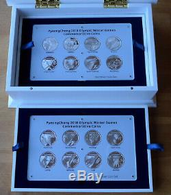 South Korea Pyeongchang 2018 Winter Olympics Silver Set 16 Coins 5000 won
