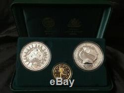 Sydney 2000 Olympic Gold and Silver 3 Proof Coin Set #2 Dedication I