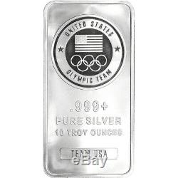 TEN (10) 10 oz. Silver Bar US Olympic Committee Team USA 999 Fine Sealed