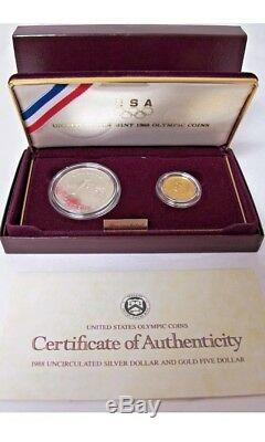 U S Mint 1988 Olympic Coins. 1.999 SILVER DOLLAR & 1.999 GOLD $5 COIN withCOA