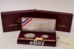 US Mint 1988 Olympic Coins Uncirculated Silver Dollar and Gold Five Dollar