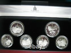USSR Russia 1980 Moscow Olympics Silver Proof 1977 5 & 10 Rubles 5 Coin Set Case