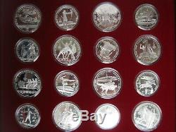 USSR Russia 1980 Moscow Olympics Silver Proof 5 & 10 Rubles 28 Coin Set COA Case