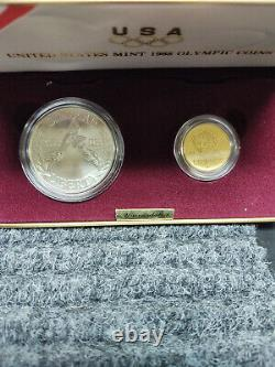 United States Mint Olympic Coins 1988 (Silver dollar and $5 Gold Coin, COA)