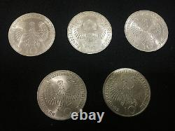 Vintage German 10 Mark 1972 Munchen Olympic Games Five Coin Set SILVER