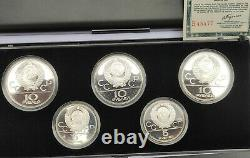 Vintage Soviet Russian Set Silver Coins Olympic Games 1980 Moscow USSR roubles
