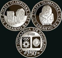 Yugoslavia 1983 1984 Olympics Silver Proof 100 250 500 Dinara 36 Coin Lot